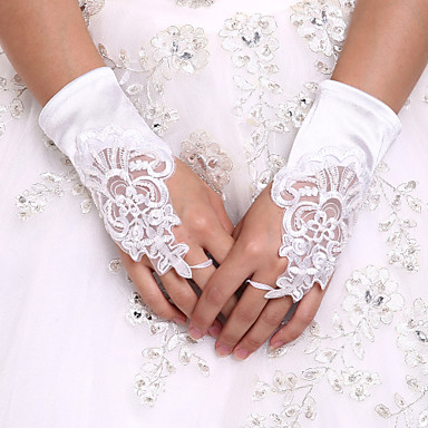 cheap Party Gloves-Spandex Wrist Length Glove Bridal Gloves / Party / Evening Gloves With Pearl