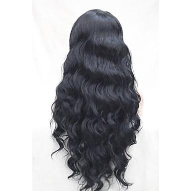 Syntetiska peruker Vågigt Vågigt Spetsfront Peruk Kolsvart Syntetiskt hår Svart Hivision