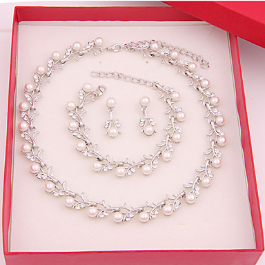 cheap Jewelry Sets-Women's Jewelry Set Ladies Earrings Jewelry Pearl White For Wedding Party Special Occasion Anniversary Birthday Gift / Daily / Necklace / Engagement