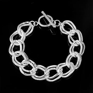 Dam Kedje & Länk Armband Unik design Mode Sterlingsilver Armband Smycken Silver Till Bröllop Party Dagligen Casual