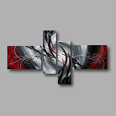 cheap Oil Paintings-Oil Painting Hand Painted - Abstract Modern Stretched Canvas / Four Panels