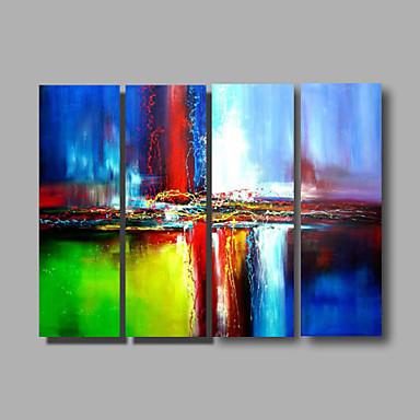 Hang målad oljemålning HANDMÅLAD - Abstrakt Moderna Inkludera innerram / Fyra paneler / Sträckt kanfas
