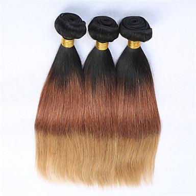 povoljno Ekstenzije od ljudske kose-3 paketa Brazilska kosa Ravan kroj Klasika Virgin kosa Ombre Ombre Isprepliće ljudske kose Proširenja ljudske kose / 10A