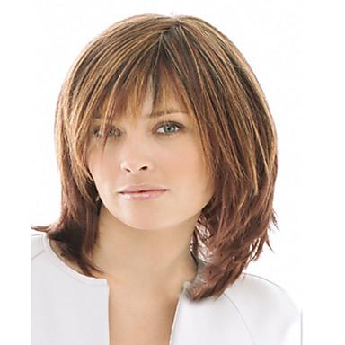 Syntetiska peruker Vågigt Vågigt Peruk Korta Brun Syntetiskt hår Dam Brun