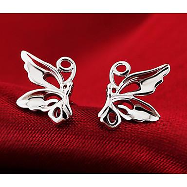 levne Dámské šperky-Dámské Peckové náušnice Motýl Zvíře Levný dámy Módní Cute Style Stříbro Stříbrná Náušnice Šperky Stříbrná Pro Svatební Párty Denní