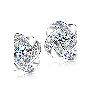 Synthetic Diamond Stud Earrings Crystal Rhinestone Silver Plated Flower Simple Style Fashion Elegant For Wedding Party Gift Sterling