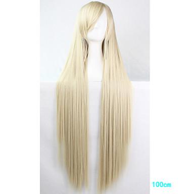 billige Kostymeparykk-Syntetiske parykker Kostymeparykker Rett Stil Med lugg Monofilament L-del Parykk Blond Lang Blond Syntetisk hår Dame Side del Blond Parykk