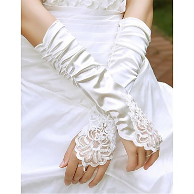 cheap Party Gloves-Cotton / Satin / Polyester Wrist Length / Elbow Length Glove Charm / Stylish / Bridal Gloves With Acrylic / Embroidery / Solid