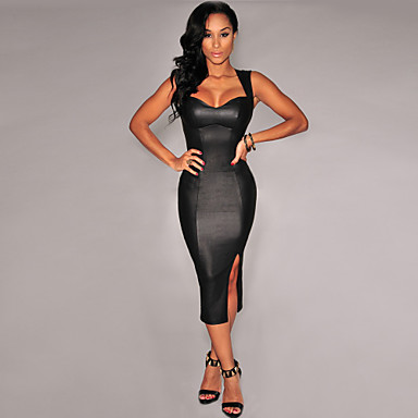 Plus Size Black Midi Dress Sexy Bodycon Bandage Dresses Slim Fitted