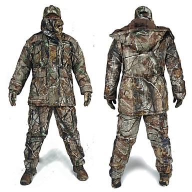 cheap Hunting & Nature-Men's Hunting Jacket with Pants Hunting Suit Camo / Camouflage Winter Outdoor Thermal / Warm Waterproof Windproof Breathable Fleece Elastane Cotton Winter Jacket Hoodie Jacket and Pants Top Camping