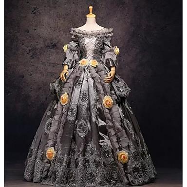 Rokoko Victoriansk 18th Century Klänningar Festklädsel Maskerad Dam Spets Spets Satin Kostym Grå Vintage Cosplay Bal Långärmad Lång längd