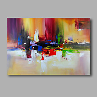 cheap Wall Art-Oil Painting Hand Painted - Abstract Modern Stretched Canvas / Rolled Canvas