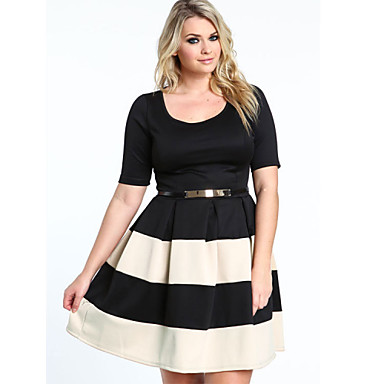 Womens Stripe Cute Half Sleeve Casual Party Prom Cocktail Dress