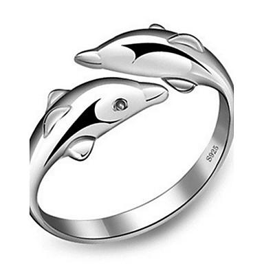 billige Motering-Dame Band Ring Håndledd Ring vikle ring Sølv Sølv damer Mote søt stil Bryllup Fest Smykker Delfin Dyr Venskap Justerbar