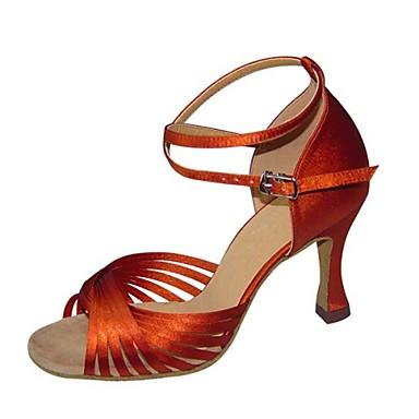 ราคาถูก Clearance-สำหรับผู้หญิง รองเท้าเต้นรำ ซาติน ลาติน หัวเข็มขัด รองเท้าแตะ / ส้น ส้น Stiletto ไม่ตัดเฉพาะ Almond / มะฮอกกานี / Tan / ในที่ร่ม / หนังสัตว์ / ฝึก / มืออาชีพ