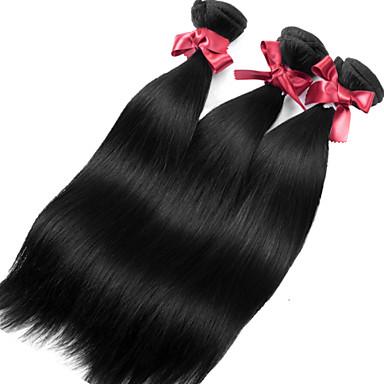 3 paket Brasilianskt hår Rak Human Hår vävar Hårförlängning av äkta hår Människohår förlängningar / 8A