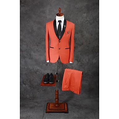 Orange Enfärgad Skräddarsydd passform Bomullsblandning Kostym - Sjal Singelknäppt Två knappar