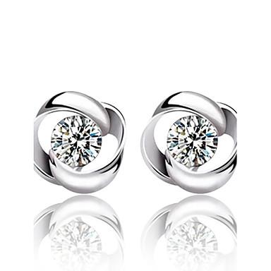 Dam Kristall Dubb Örhängen Mode Sterlingsilver Kristall Silver örhängen Smycken Silver Till Bröllop Party Dagligen