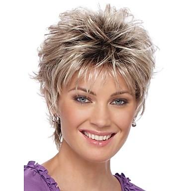 preiswerte Mode Perücken-Synthetische Perücken Locken Locken Pixie-Schnitt Perücke Blond Kurz Silber Synthetische Haare Damen Gefärbte Haarspitzen (Ombré Hair) Dunkler Haaransatz Natürlicher Haaransatz Blond StrongBeauty