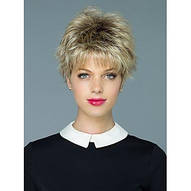 Syntetiska peruker Vågigt Vågigt Peruk Blond Korta Blond Syntetiskt hår Dam Blond Flerfärgad