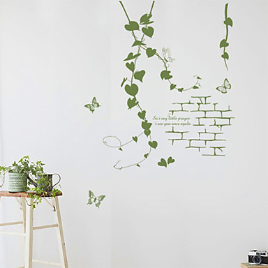 wall stickers wall decals, korean style green flowers rattan pvc