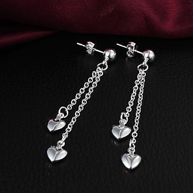 Dam Örhänge Lång Hjärta Kärlek damer Personlig Fest Försilvrad örhängen Smycken Silver Till Dagligen