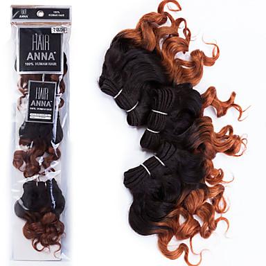 povoljno Ekstenzije od ljudske kose-3 paketa Brazilska kosa Kovrčav Klasika Virgin kosa Ombre 8 inch Ombre Isprepliće ljudske kose 7a Proširenja ljudske kose