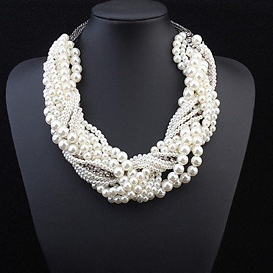 cheap Pearl Necklaces-Women's Pearl Statement Necklace Layered Twisted Statement Ladies Luxury Pearl Alloy White Necklace Jewelry For Wedding Party Special Occasion Cosplay Costumes