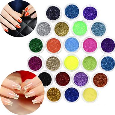 24 pcs Helnageltoppar Glitter Nagelsmycken Vackert nagel konst manikyr Pedikyr Dagligen Mode / Plast / Nail Smycken
