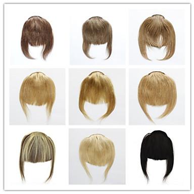 preiswerte Haarteil-Vertrauensfeuer Mit Clip Haarverlängerungen Glatt Klassisch Echthaar Stirn-Pony Nano Beige Blond / Bleached Blond / Gerade