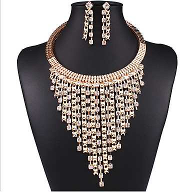 cheap Jewelry Sets-Synthetic Diamond Jewelry Set Choker Necklace Layered Tassel Ladies Luxury Tassel Vintage Party Work Cubic Zirconia Imitation Diamond Earrings Jewelry Gold For Party Special Occasion Anniversary