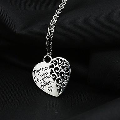 Dam Hänge Halsband Hjärta Kärlek Hollow Heart Legering Silver Halsband Smycken Till Bröllop Party Dagligen Casual
