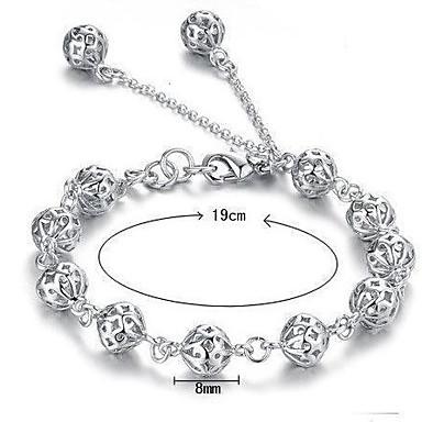 Dam Kedje & Länk Armband Berlock Armband damer Sterlingsilver Armband Smycken Vit Till Bröllop Party Dagligen Casual