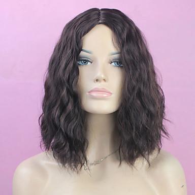 Syntetiska peruker Vågigt Vågigt Bob-frisyr Peruk Mellan Svart Syntetiskt hår Dam Mittbena Svart