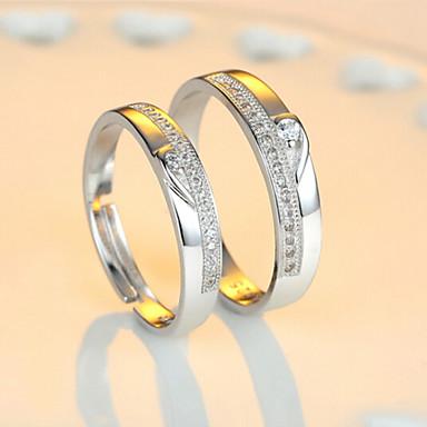 voordelige Zilveren Ring-Voor Stel Ringen voor stelletjes Eternity Ring Kubieke Zirkonia 2pcs Hart 1 Hart 2 Hart 3 Sterling zilver Dames Bling bling Bruiloft Feest Sieraden Tweekleurig Sweetheart Verstelbaar