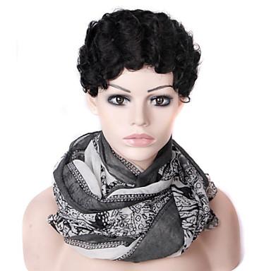 Syntetiska peruker Vågigt Vågigt Peruk Korta Svart Syntetiskt hår Dam Svart
