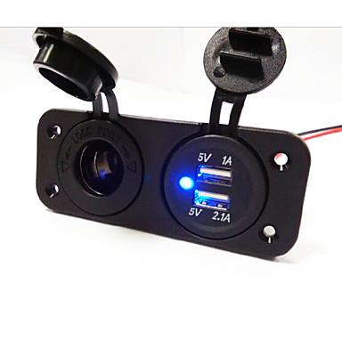 5v 3.1a billaddare två-håls panel med dubbla USB-portar cigarettändare lastbil bil motorcykel eluttag