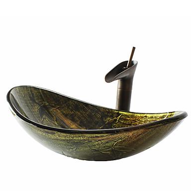Badrums sink / Badrumskran / Badrums Monteringssing Antik - Härdat Glas Rektangulär Vessel Sink