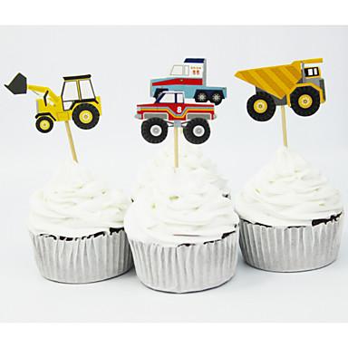 szülinapi parti kellékek gyerekeknek 72pcs autós témájú party kellékek rajzfilm autó cupcake fűkaszák  szülinapi parti kellékek gyerekeknek
