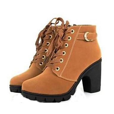 levne Dámská obuv-Dámské Block Heel Boots Kačenka Šněrování Koženka 20.32-25.4 cm / Do půli lýtek Obuv military styl Podzim / Zima Žlutá / Červená / Zelená / EU39
