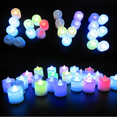 cheap Candles & Candleholders-24pcs Colorful Color LED Tea Lights Candle for Easter Christmas Valentines Day Wedding Party