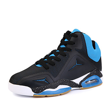Men's Shoes Fabric Winter Fall Comfort Athletic Shoes Basketball Shoes Lace-up Athletic Casual Outdoor Black Red Blue
