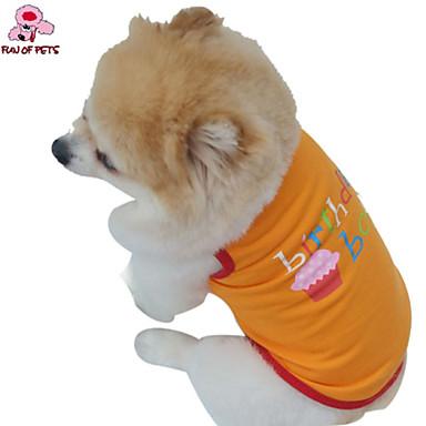 Katt Hund Dräkter/Kostymer T-shirt Outfits Hundkläder Cosplay Födelsedag Semester Bröllop Mode Bokstav & Nummer Orange Purpur Kostym För