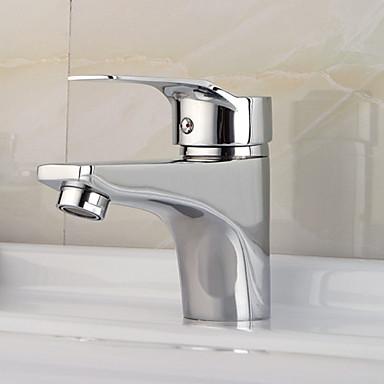 preiswerte Armaturen für das Badezimmer-Moderne deckenmontiert Keramisches Ventil Einhand Ein Loch Chrom, Waschbecken Wasserhahn