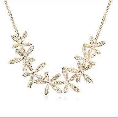Dam Kristall Chokerhalsband Blomma Snöflinga damer Syntetiska Ädelstenar Bergkristall Legering Guld Halsband Smycken Till