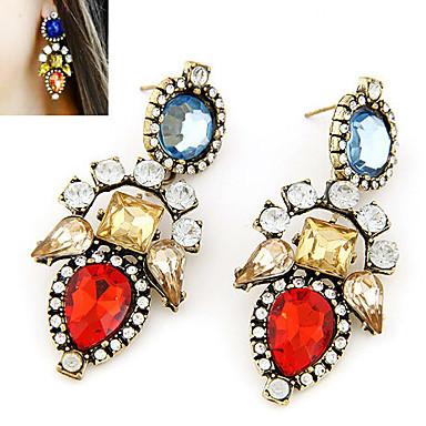 Dam Kubisk Zirkoniumoxid Dropp Örhängen Lyx Ädelsten Kubisk Zirkoniumoxid Diamantimitation örhängen Smycken Röd Till