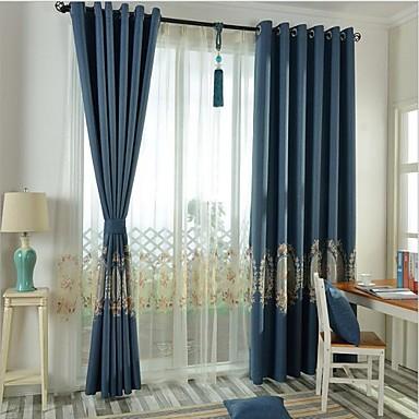 skräddarsydda blackout gardiner draperier två paneler / broderi / sovrum