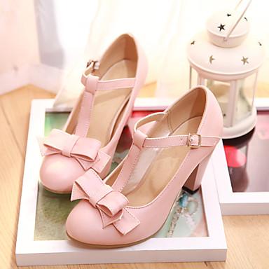 cheap Women's Heels-Women's Chunky Heel Dress Office & Career Bowknot Leatherette Summer Black / Pink / Green / EU38
