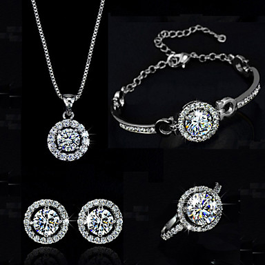cheap Jewelry & Watches-Women's Synthetic Diamond Moissanite Jewelry Set Necklace Earrings Solitaire Round Cut Halo Ladies Elegant Crystal Cubic Zirconia Earrings Jewelry Silver / Golden For Wedding Party Birthday / Ring