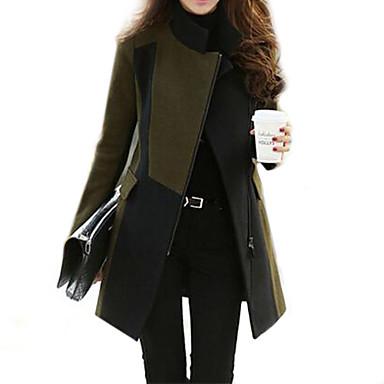 f6b6aab5a1 női patchwork hadsereg zöld trend kabát, elegáns, hosszú ujjú gyapjú  keverékek / nylon cipzár 2516462 2019 – $28.99